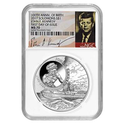 2017 1 oz Silver JFK Solomon Islands NGC MS 70 FDOI First Day of Issue (JFK Signature Label)
