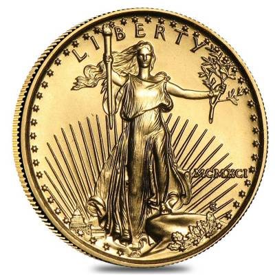 1991 1 10 Oz Gold American Eagle Bu Mcmxci