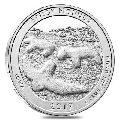 2017 5 oz Silver America the Beautiful ATB Iowa Effigy Mounds National Monument Coin