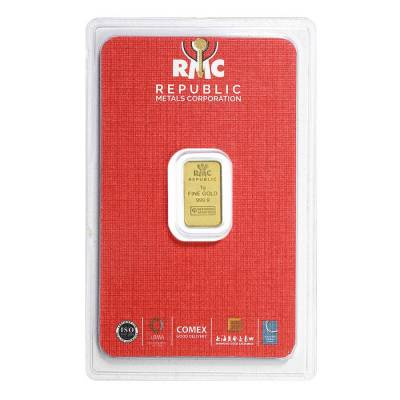 1 gram Republic Metals (RMC) Gold Bar .9999 Fine (In Assay)