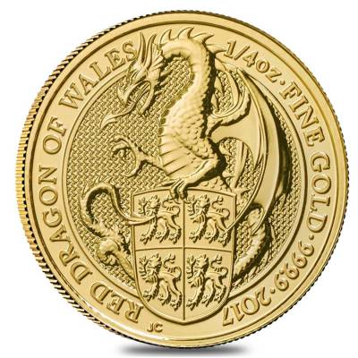 2017 Great Britain 1/4 oz Gold Queen's Beast (Red Dragon) Coin .9999 Fine BU