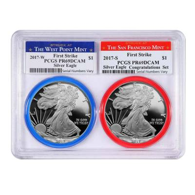 2017 W/S 1 oz Proof Silver American Eagle 2-Coin Set PCGS PF 69 DCAM First Strike (w/Gasket)