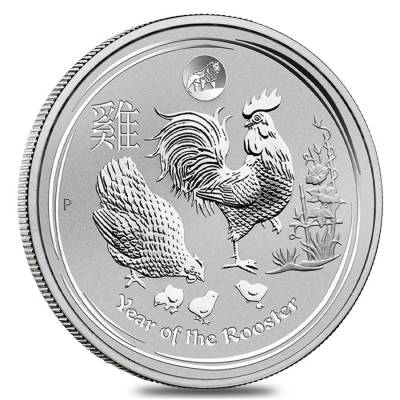2017 1 oz Silver Lunar Year of The Rooster Lion Privy BU Australian Perth Mint In Cap