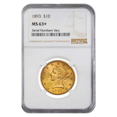 1893 $10 Liberty Head Gold Eagle Coin NGC MS 63+