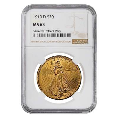 1910 D $20 St. Gaudens Gold Double Eagle NGC MS 63