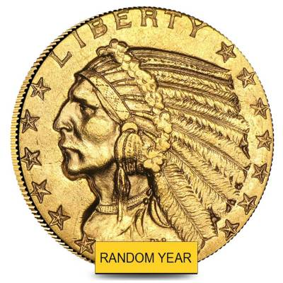 $5 Gold Half Eagle Indian Head - Polished or Cleaned (Random Year)