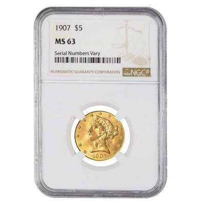 1907 $5 Liberty Head Half Eagle Gold Coin NGC MS 63