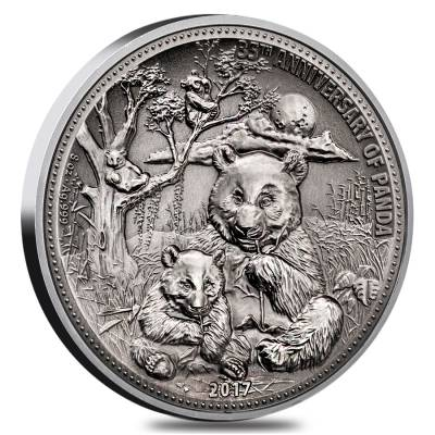 2017 8 oz Silver Panda Fiji $5 Coin .999 Fine In Cap Serial#88 High Relief (w/Box&COA)