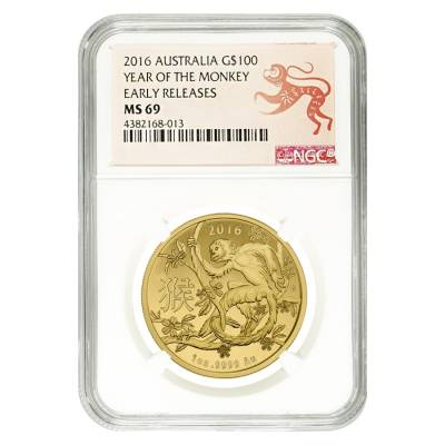 2016 1 oz Gold Lunar Year of the Monkey Australian Royal Mint NGC MS 69 Early Releases