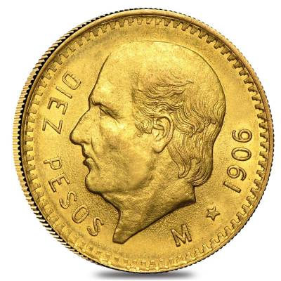 1906 Mexico 10 Pesos Gold Coin AU