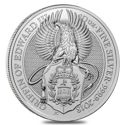 2018 Great Britain 10 oz Silver Queen's Beast (Griffin) Coin .9999 Fine BU In Cap