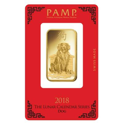 1 oz PAMP Suisse Year of the Dog Gold Bar (In Assay)
