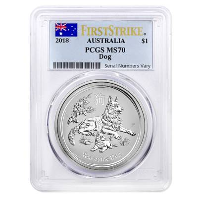2018 1 oz Silver Year of The Dog Australia Perth Mint PCGS MS 70 First Strike