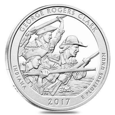 2017 5 oz Silver America the Beautiful ATB Indiana George Rogers Clark National Historical Park Coin
