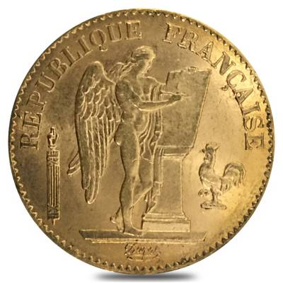 20 Francs French Lucky Angel Gold Coin AGW .1867 oz BU (Random Year)