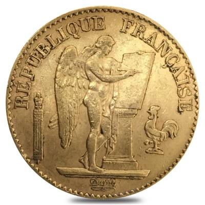 20 Francs French Lucky Angel Gold Coin AGW .1867 oz Avg Circ (Random Year)