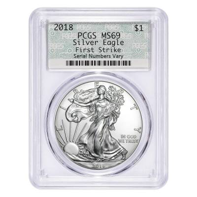 2018 1 oz Silver American Eagle $1 Coin PCGS MS 69 First Strike (Doily)