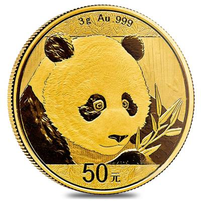 2018 3 Gram Chinese Gold Panda 50 Yuan .999 Fine BU (Sealed)
