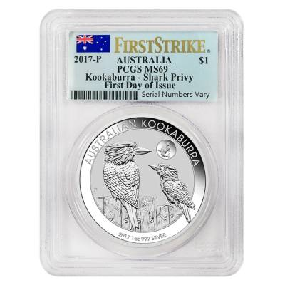 2017 1 oz Silver Australian Kookaburra Shark Privy Perth Mint PCGS MS 69 First Day of Issue (Flag Label)