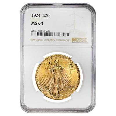 1924 $20 Gold St. Gaudens Double Eagle Coin NGC MS 64