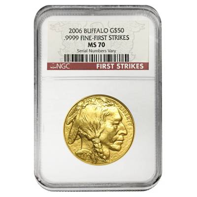 2006 1 oz Gold American Buffalo NGC MS 70 First Strikes