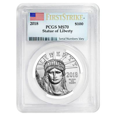 2018 1 oz Platinum American Eagle PCGS MS 70 First Strike