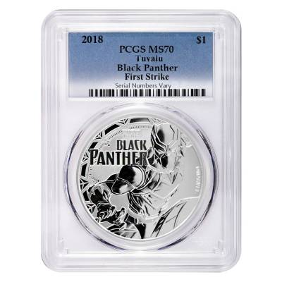 2018 1 oz Tuvalu Black Panther Marvel Series Silver PCGS MS 70 FS
