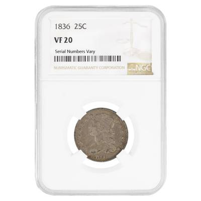 1836 Silver Early Quarter 25C NGC VF 20