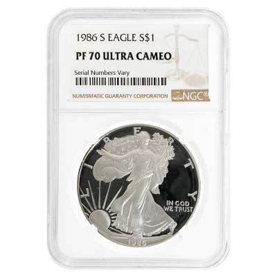 1986 S 1 oz Proof Silver American Eagle NGC PF 70 UCAM