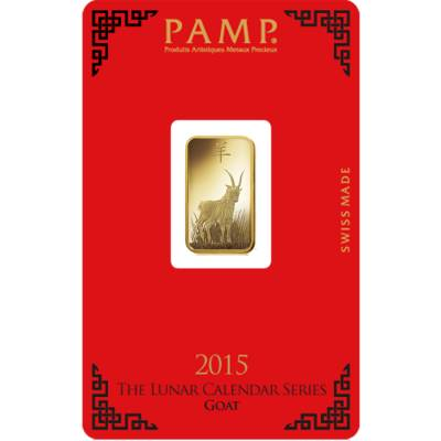 5 gram PAMP Suisse Year of the Goat Gold Bar (in Assay)
