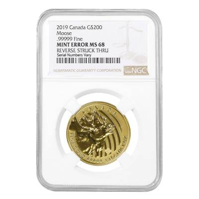 2019 1 oz Canadian Gold Moose Coin NGC MS 68 Mint Error (Rev Struck Thru)