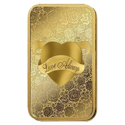 1 oz PAMP Suisse Gold Bar - Love Always (In Assay) .9999 Fine