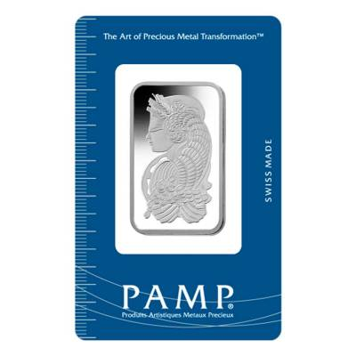 Box of 25 - 1 oz PAMP Suisse Lady Fortuna Platinum Bar .9995 Fine (In Assay)