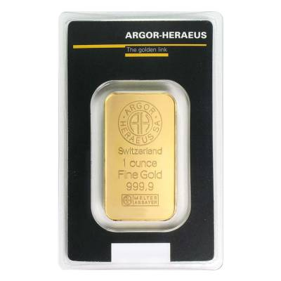 1 oz Gold Bar - Argor-Heraeus .999+ Fine (In Assay)