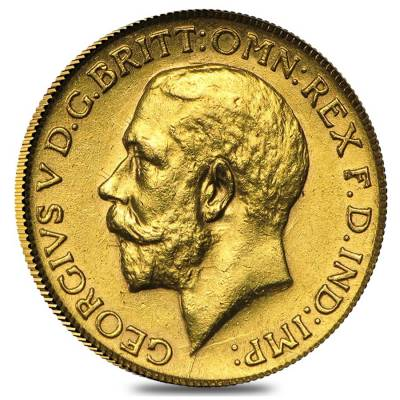 1911-1936 British Gold Half Sovereign George V Avg Circ