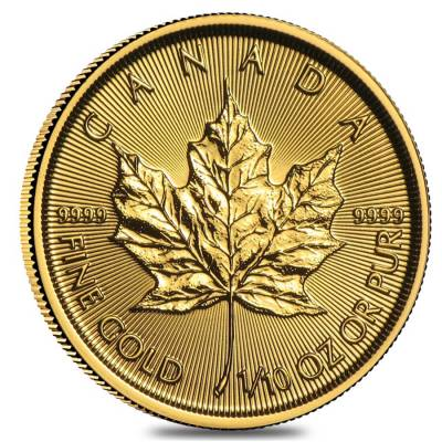 1/10 oz Canadian Gold Maple Leaf $5 Coin (Random Year)