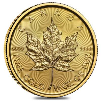 1/2 oz Canadian Gold Maple Leaf Coin (Random Year)