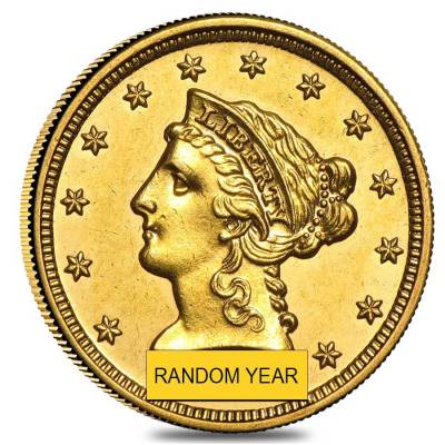 $2.5 Gold Quarter Eagle Liberty Head - Almost Uncirculated AU (Random Year)