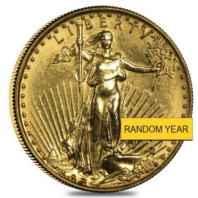 1/10 oz Gold American Eagle $5 Coin (Abrasions,Random Year)