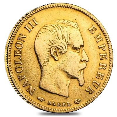 10 Francs French Gold Napoleon III AGW .0933 oz Avg Circ (1854-1869, Random Year)