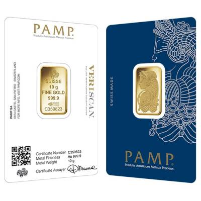 10 gram Gold Bar PAMP Suisse Lady Fortuna Veriscan .9999 Fine (In Assay)