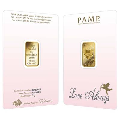 5 gram PAMP Suisse Gold Bar - Love Always (In Assay) .9999 Fine