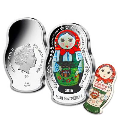 2016 1 oz Silver Solomon Islands Proof Russian Matryoshka Doll $5 Coin .999 Fine (w/Box&COA)