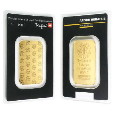 1 oz Gold Bar - Argor-Heraeus .999+ Fine (In Ass