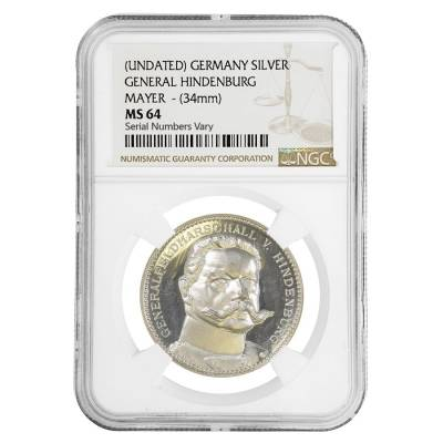 Germany Weimar Republic General Hindenburg Mayer Silver Medal NGC MS 64