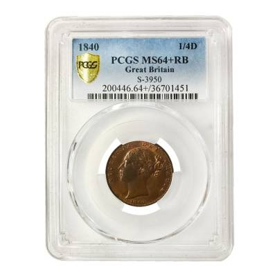 1840 Great Britain Victoria Young Head Farthing PCGS MS 64+ RB