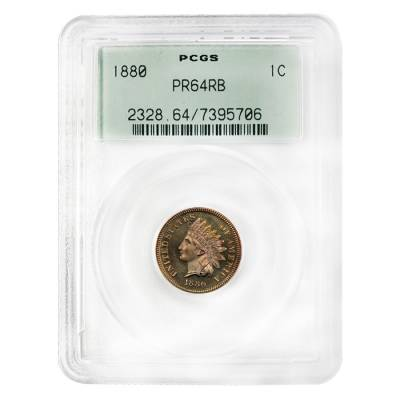 1880 Proof Indian Head Cent PCGS PF 64 RB