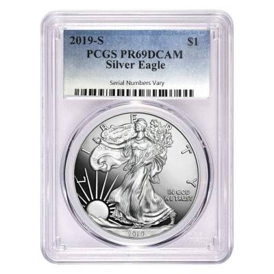 2019-S 1 oz Proof Silver American Eagle PCGS PF 69 DCAM