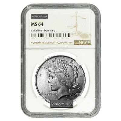 Peace Silver Dollar $1 NGC MS 64 (Random Year, 1922-1935)