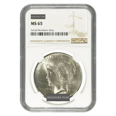 FRONT Peace Silver Dollar $1 NGC MS 65 (Random Year, 1921-1935)